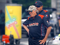 Jun 6, 2015; Englishtown, NJ, USA; Crew chief Richard Hogan for NHRA top fuel driver Steve Torrence during qualifying for the Summernationals at Old Bridge Township Raceway Park. Mandatory Credit: Mark J. Rebilas-