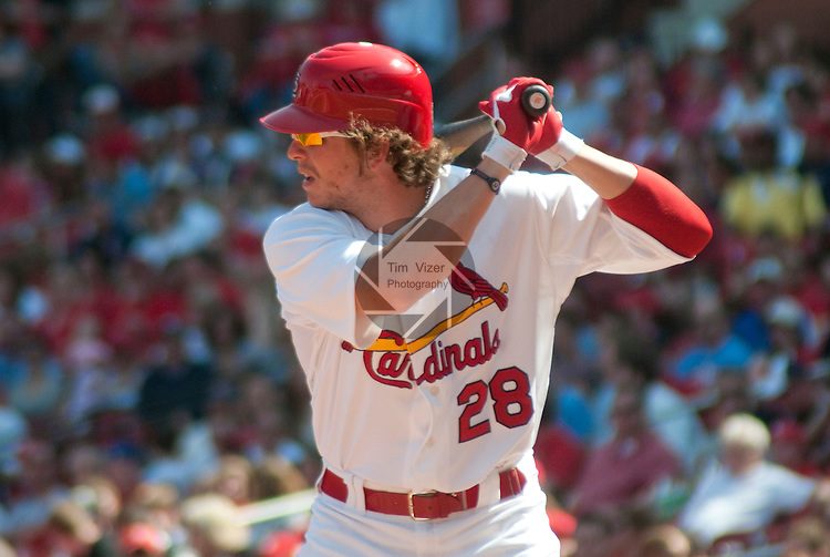April 3,  2011                          St. Louis Cardinals center fielder Colby Rasmus (28) at bat.  The St. Louis Cardinals defeated the San Diego Padres 2-0 in the final game of a three-game series on Sunday April 3, 2011 at Busch Stadium in downtown St. Louis.