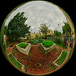 Urban Garden in St. Petersburg (Mirror Ball View). Composite of 21 images taken with a Fuji X-T3 camera and 8-16 mm lens (ISO 160, 8 mm, f/16, 1/60 sec). Raw images processed with Capture One Pro and AutoPano Giga Pro.