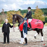 NZL-Hannah Burden and Fanfare MH take the Supreme Champion Title for the Elite Equine North Island Future Stars Dressage Championships 2018. Pictured here with Breeder: Judith Matthews and Sponsor from Elite Equine, Victoria Wall. 2018 NZL-Livamol FEI World Dressage Challenge. Friday 20 April. Copyright Photo: Libby Law Photography