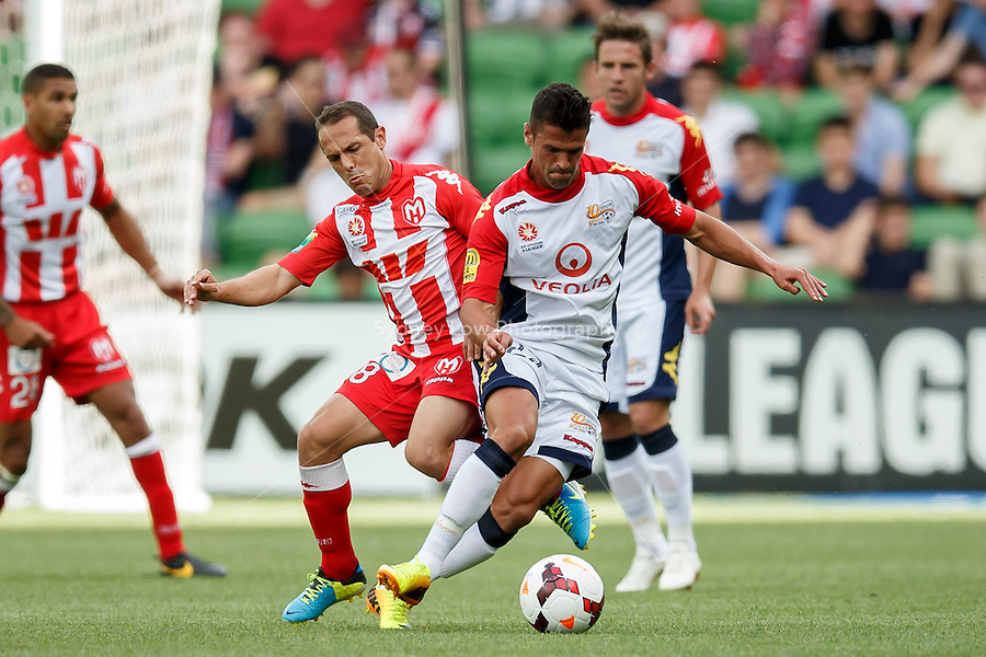 Massimo MURDOCCA of the Heart and Fabio FERREIRA of Adelaide fight for the ball in the round eight match between Melbourne Heart and Adelaide United in the Australian Hyundai A-League 2013-24 season at AAMI Park, Melbourne, Australia. Photo Sydney Low/Zumapress<br /> <br /> This image is not for sale on this web site. Please visit zumapress.com for licensing