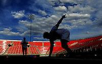 Jun. 13, 2009; Las Vegas, NV, USA; Joey Hollenbeck runs the 20 yard dash during the United Football League workout at Sam Boyd Stadium. Mandatory Credit: Mark J. Rebilas-