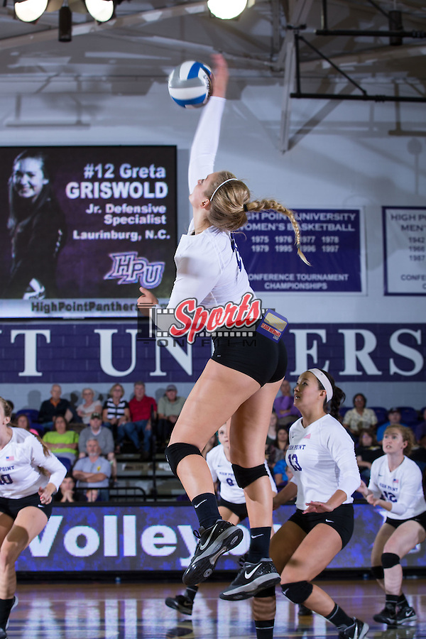 Megan Kennedy (6) of the High Point Panthers attacks the ball during the match against the Wake Forest Demon Deacons at the Panther Invitational at the Millis Athletic Center on September 12, 2015 in High Point, North Carolina.  The Demon Deacons defeated the Panthers 3-1.   (Brian Westerholt/Sports On Film)