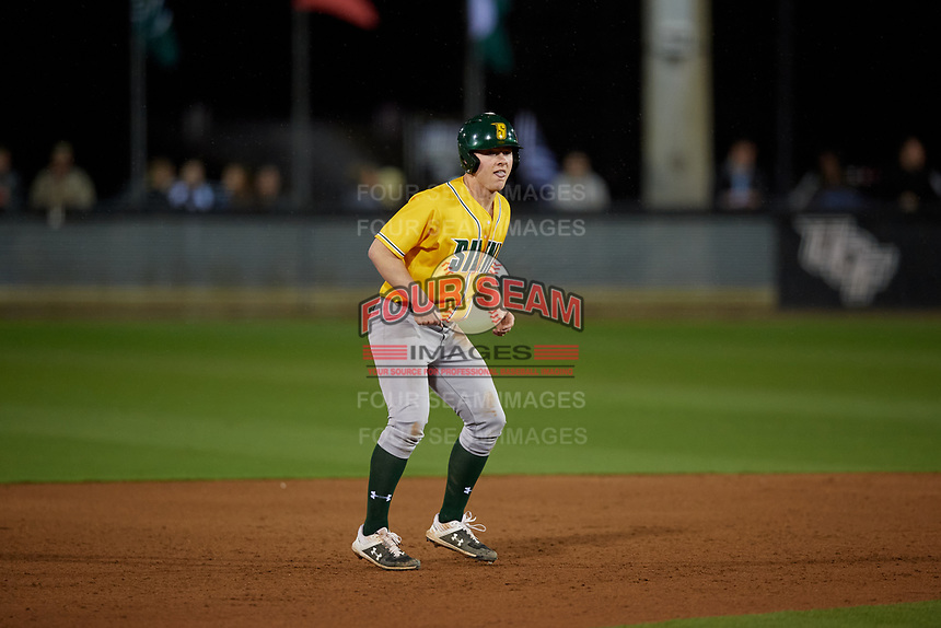 Siena Saints Pat O'Hare (17) leads off during a game against the UCF Knights on February 14, 2020 at John Euliano Park in Orlando, Florida.  UCF defeated Siena 2-1.  (Mike Janes/Four Seam Images)