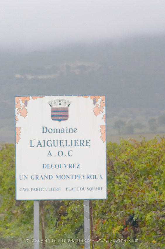 Sign to Domaine l'Aigueliere. Montpeyroux. Languedoc. France. Europe.