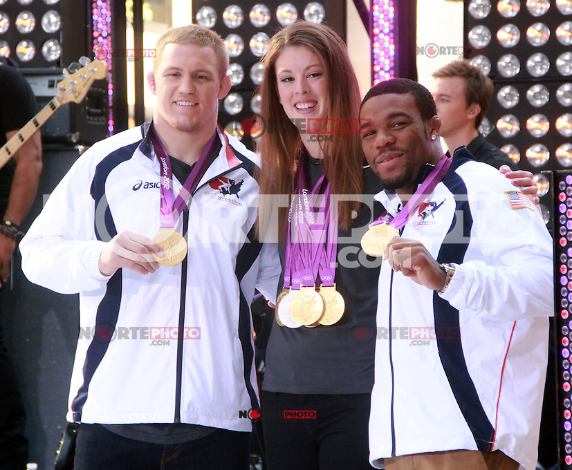August 17, 2012 Jake Varner, Allison Schmitt, Jordan Burrough  Olympic medalists  visit the  NBC's Today Show  at Rockefeller Center in New York City.Credit:&copy; RW/MediaPunch Inc. /NortePhoto.com<br />
