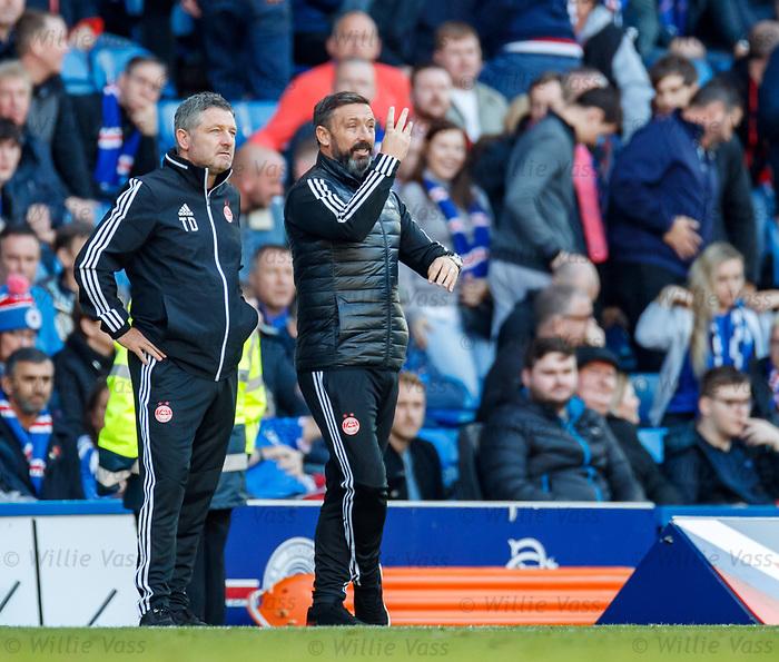 28.09.2018 Rangers v Aberdeen: Tony Docherty and Derek McInnes