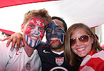 12 June 2006: U.S. fans take over a public square near the main train station in Gelsenkirchen before the game. Fans party under a 20x30 foot U.S. flag. The United States played the Czech Republic at Veltins Arena in Gelsenkirchen, Germany in match 10, a Group E first round game, of the 2006 FIFA World Cup.