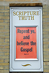 Scripture Truth Christian church sign calling on people to repent and believe the Gospel