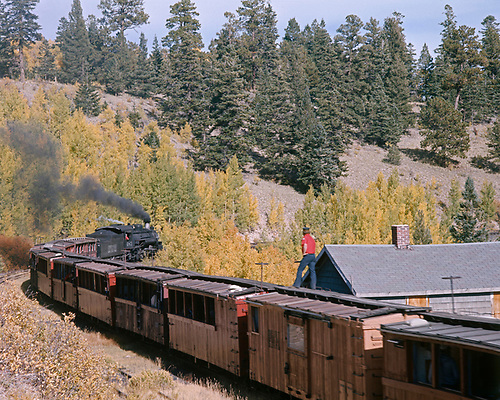 C&amp;TS #483 with excursion train departing Sublette eastbound.<br /> C&amp;TS  Sublette, NM  Taken by Sperry, Russell B. - 9/25/1975