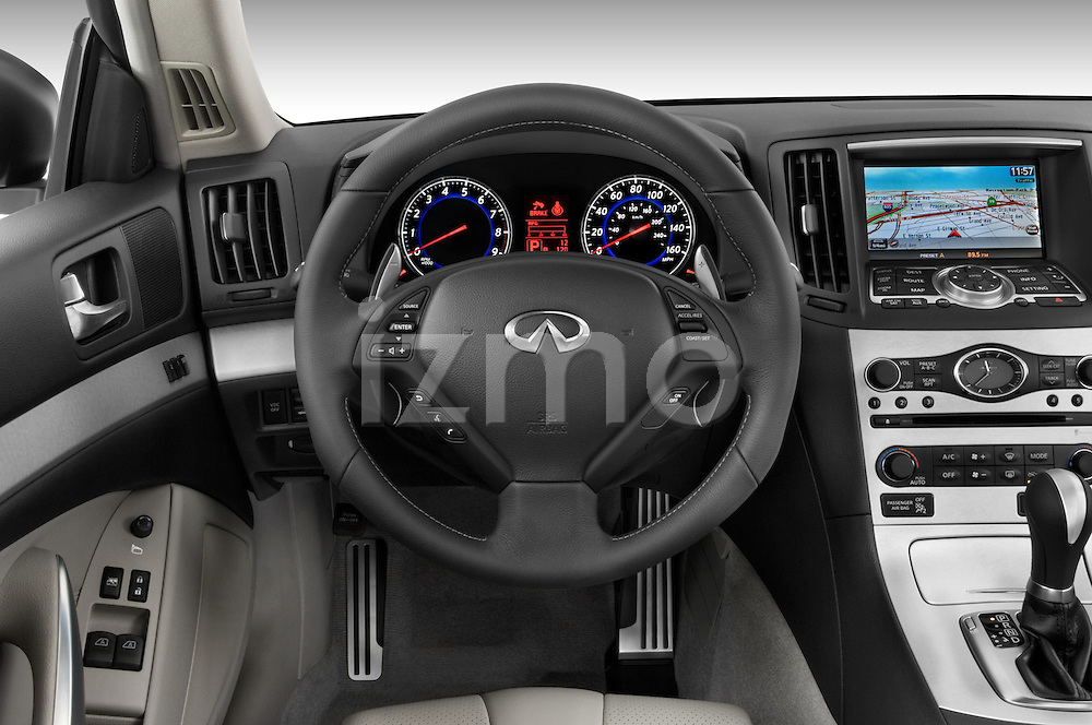 Steering wheel view of a 2008 Infiniti G37S Coupe