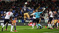 Sheffield Wednesday's Steven Fletcher clears from a Bolton Wanderers corner<br /> <br /> Photographer Andrew Kearns/CameraSport<br /> <br /> The EFL Sky Bet Championship - Bolton Wanderers v Sheffield Wednesday - Tuesday 12th March 2019 - University of Bolton Stadium - Bolton<br /> <br /> World Copyright © 2019 CameraSport. All rights reserved. 43 Linden Ave. Countesthorpe. Leicester. England. LE8 5PG - Tel: +44 (0) 116 277 4147 - admin@camerasport.com - www.camerasport.com