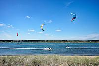 Kitesurfing, Sengekontac Pond, Martha's Vineyard, Massachusetts, USA