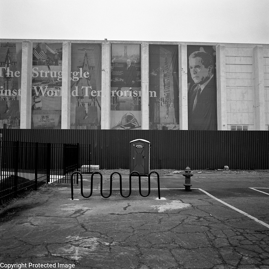 USA. BAyonne. 2007.Tucked away behind Global Docks is a monument against terrorism given to the US by Russia after the attacks of 9/11..©Andrew Testa