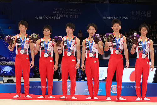 Japan team group, OCTOBER 12, 2011 - Artistic Gymnastics : 2011 World Artistic Gymnastics Championships Award Ceremony for Men's Team Final at Tokyo Metropolitan Gymnasium, Tokyo, Japan. (Photo by YUTAKA/AFLO SPORT) [1040]