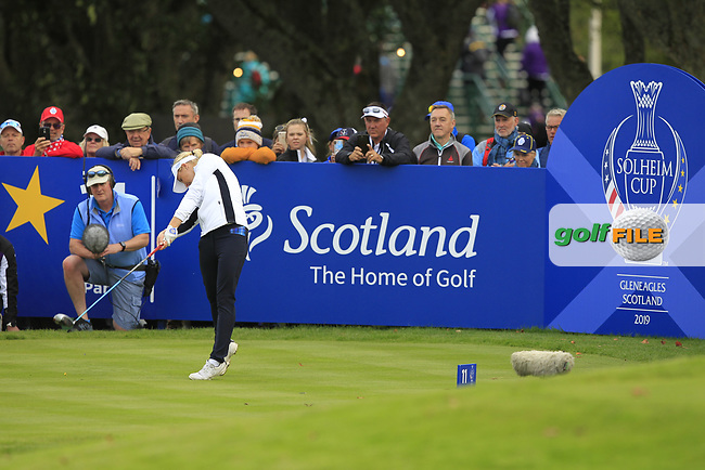 Bronte Law of Team Europe on the 11th tee during Day 1 Fourball at the Solheim Cup 2019, Gleneagles Golf CLub, Auchterarder, Perthshire, Scotland. 13/09/2019.<br /> Picture Thos Caffrey / Golffile.ie<br /> <br /> All photo usage must carry mandatory copyright credit (© Golffile | Thos Caffrey)