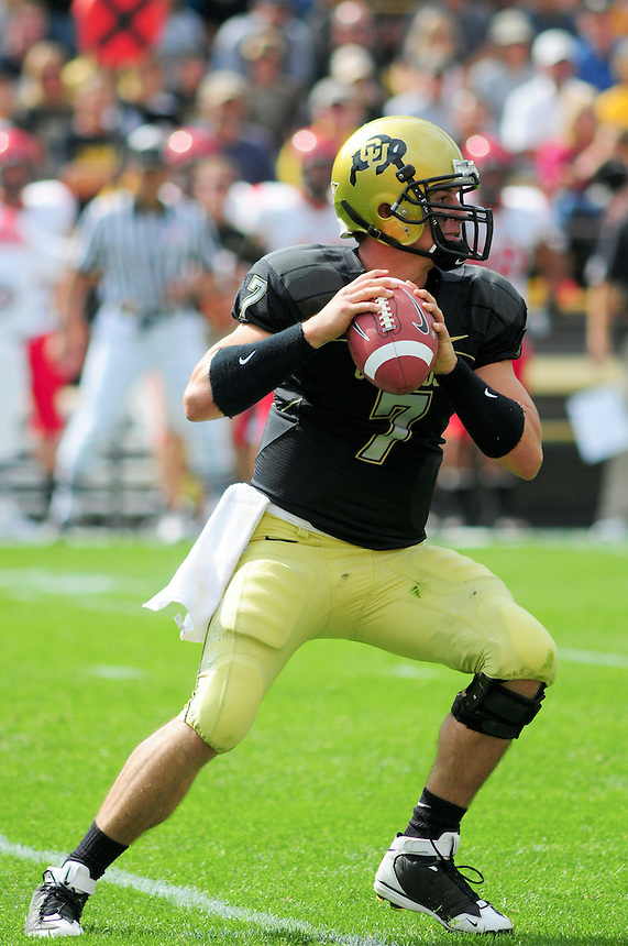 06 September 08: Colorado quarterback Cody Hawkins during a play against Eastern Washington. The Colorado Buffaloes defeated the Eastern Washington Eagles 31-24 at Folsom Field in Boulder, Colorado. FOR EDITORIAL USE ONLY