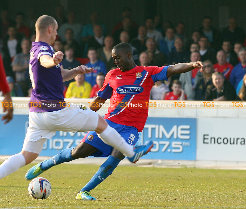 Brian Saah of Dagenham and Redbridge - Dagenham and Redbridge vs Oxford United, Sky Bet Football League at the London Borough of Barking and Dagenham Stadium - 29/03/14 - MANDATORY CREDIT: Dave Simpson/TGSPHOTO - Self billing applies where appropriate - 0845 094 6026 - contact@tgsphoto.co.uk - NO UNPAID USE