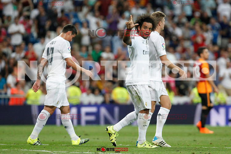 Real Madrid´s Marcelo Vieira celbrates a goal during Santiago Bernabeu Trophy match at Santiago Bernabeu stadium in Madrid, Spain. August 18, 2015. (ALTERPHOTOS/Victor Blanco)