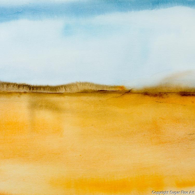 landscape, abstract, sand, desert, blue, grey, horizon, hills, brown, sand, pale, watercolor, blue, sky, gold
