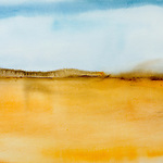 landscape, abstract, sand, desert, blue, grey, horizon, hills, brown, sand, pale, watercolor, blue, sky, gold