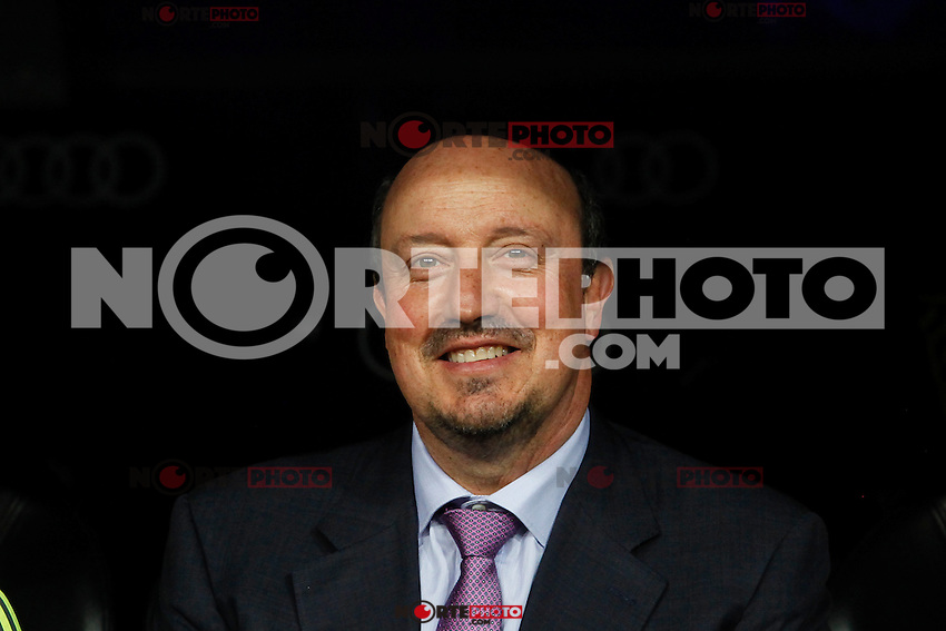 Real Madrid´s coach Rafa Benitez during Santiago Bernabeu Trophy match at Santiago Bernabeu stadium in Madrid, Spain. August 18, 2015. (ALTERPHOTOS/Victor Blanco)