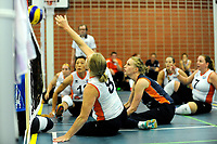 ASSEN - Volleybal, Internationaal zitvolleybal toernooi, Nederland - Rusland, 01-07-2017,  Paula List tikt de bal over het net
