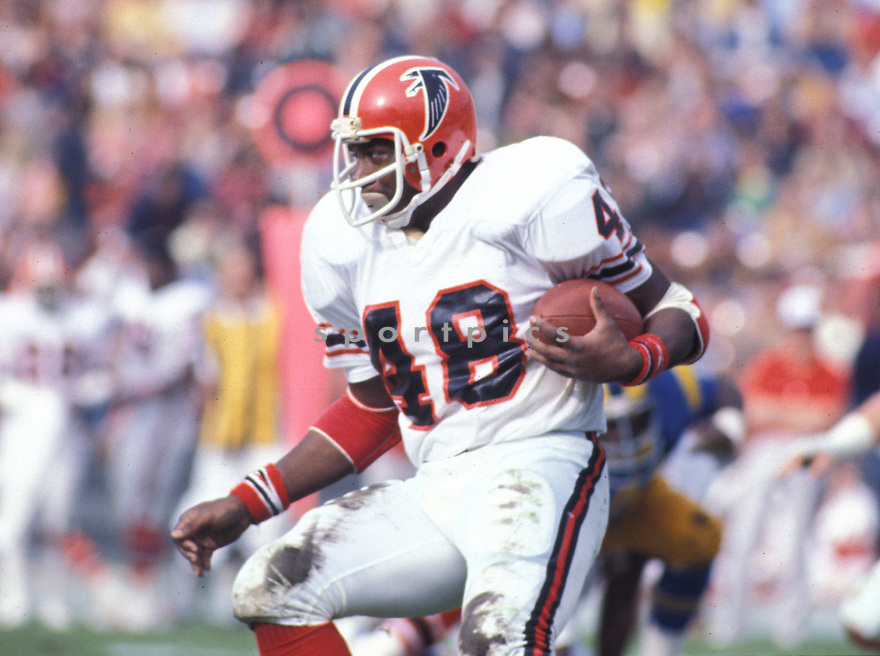 Atlanta Falcons Woody Thompson(48) in action during a game against the Los Angeles Rams at Los Angeles Memorial Coliseum in Los Angeles, California on December 11, 1977.  The Rams beat the Falcons 23-7. Woody Thompson played for 3 years all with the Falcons.David Durochik/SportPics