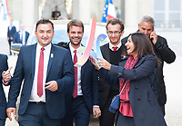 September 15 2017, PARIS FRANCE Delegation of Paris 2024 welcomed<br /> by the French President Emmanuel MACRON at the Elysee Palace.<br /> Anne HIDALGO the Mayor of Paris<br /> very proud to wave de Paris Olympic<br /> Games Logo