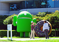 Sept. 6, 2011 - Mountain View, California - U.S. - People pose for pictures at the Google world headquarters in Mountain View, California Monday September 5, 2011.  (Credit Image: Alan Greth/ZUMAPress.com).