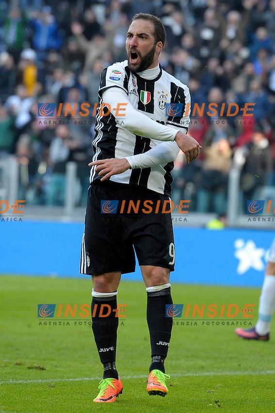 Gonzalo Higuain Juventus <br /> Torino 22-01-2017 Juventus Stadium Calcio Campionato Italiano Serie A 2016/2017 <br /> Juventus - Lazio <br /> Foto Filippo Alfero Insidefoto