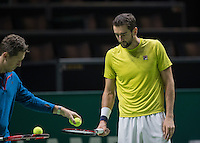 Rotterdam, Netherlands, 12 februari, 2017, ABNAMROWTT,  Marin Cilic with his coach Jonas Bjorkman.<br /> Photo: Henk Koster