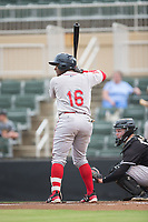 Roldani Baldwin (16) of the Greenville Drive at bat against the Kannapolis Intimidators at Kannapolis Intimidators Stadium on August 7, 2017 in Kannapolis, North Carolina.  The Drive defeated the Intimidators 6-1.  (Brian Westerholt/Four Seam Images)