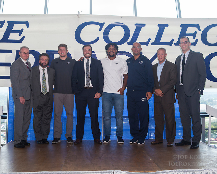 State College, PA - 09/07/2016:  Week #2 State College Quarterback Club luncheon at Mount Nittany Club at Beaver Stadium in University Park, PA.<br /> <br /> This week's opponent: Pitt<br /> <br /> Players: Nyeem Hartman-White, Troy Apke<br /> <br /> Coach: James Franklin<br /> <br /> Sponsor: Morgan Stanley<br /> <br /> Photos by Joe Rokita / JoeRokita.com