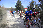 The peloton on sector 3 Radi during Strade Bianche 2019 running 184km from Siena to Siena, held over the white gravel roads of Tuscany, Italy. 9th March 2019.<br /> Picture: Eoin Clarke | Cyclefile<br /> <br /> <br /> All photos usage must carry mandatory copyright credit (&copy; Cyclefile | Eoin Clarke)