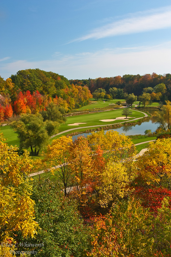 A colourful view over the scenic Glen Abbey  golf course in the fall of the year.