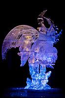 Aqua Queen, by Junichi Nakamura, Kevin Gregory, Benjamin Rand, Shinichi Sawamura. 2007 World Ice Art Championships, Multi block sculpture.
