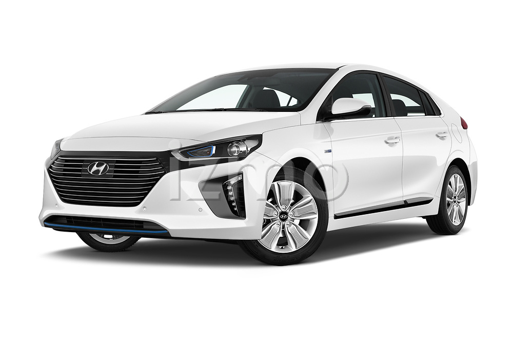 Stock pictures of low aggressive front three quarter view of 2017 Hyundai Ioniq-Hybrid Executive 5 Door Hatchback Low Aggressive