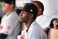 Indianapolis Indians outfielder Corey Wimberly #2 in the dugout during a game against the Rochester Red Wings at Frontier Field on June 18, 2011 in Rochester, New York.  Rochester defeated Indianapolis 12-7.  (Mike Janes/Four Seam Images)