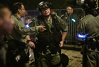 An unidentifed British member of the Hong Kong Police is seen in action during anti-Extradition Bill protests in Tai Po, New Territories, Hong Kong, China, 10 August 2019.