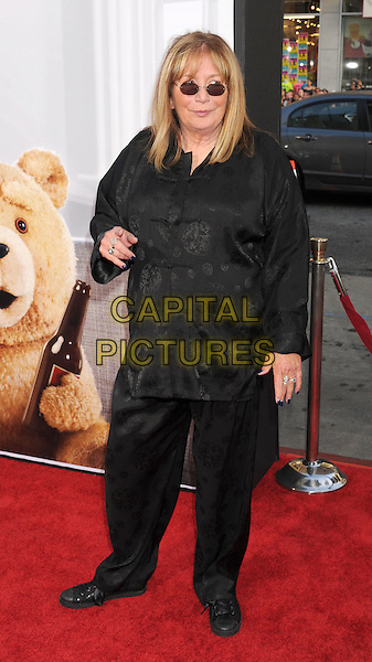 "Penny Marshall.arriving at the World Premiere of ""Ted"" at Grauman's Chinese Theatre in Hollywood, California, USA, .June 21st, 2012. .full length black tunic trousers shirt sunglasses .CAP/ROT/TM.©TM/Roth Stock/Capital Pictures"