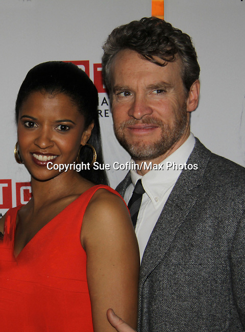 One Life To Live's Renee Elise Goldsberry poses with Tate Donovan - Opening Night of Broadway's Good People on March 3, 2011 at the Samuel J. Friedman Theatre, New York City, New York with the after party was at B.B. Kings, NYC. (Photo by Sue Coflin/Max Photos)