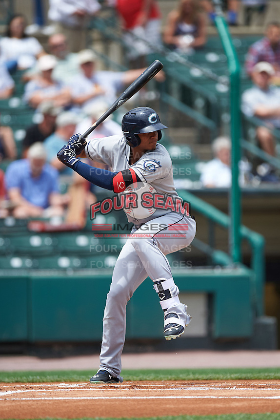 Columbus Clippers second baseman Erik Gonzalez (11) at bat during a game against the Rochester Red Wings on June 16, 2016 at Frontier Field in Rochester, New York.  Rochester defeated Columbus 6-2.  (Mike Janes/Four Seam Images)