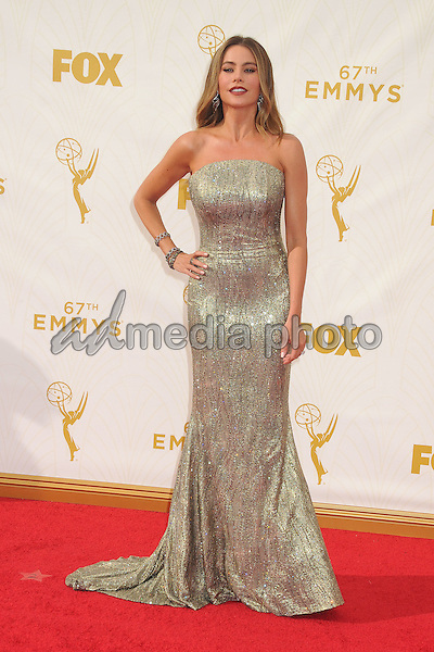 20 September 2015 - Los Angeles, California - Sofia Vergara. 67th Annual Primetime Emmy Awards - Arrivals held at Microsoft Theater. Photo Credit: Byron Purvis/AdMedia