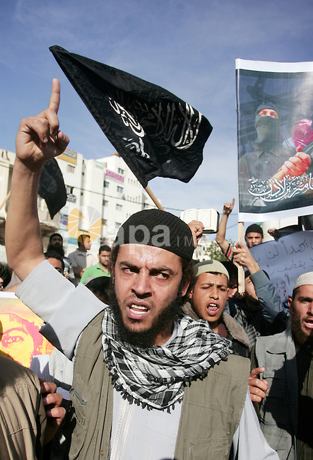 Palestinian Salafist groups shout slogans during a demonstration at Gaza central square, in Gaza city on May 7, 2011 to denounce the killing of late Al-Qaeda chief Osama bin Laden by US forces in Pakistan. Bin Laden was found and killed by US commandos in a shock operation on May 2. Osama bin Laden's wife said the Al Qaeda kingpin had lived with family in a compound in Abbottabad for five years before he was shot dead by US forces, Pakistani security officials said. Photo by Mohammed Othman