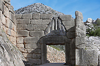 Lion Gate, Mycenae, c. 1250 BC.  Mycenae, Pelopennese, Greece, a hill top citadel which was the most important place in Greece from c. 1600 to c. 1100 BC. It was first completely excavated 1874-78 by Heinrich Schliemann, 1822-90, but the Lion Gate was excavated in 1841 by Kyriakos Pittakis, 1798-1863