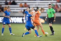 Houston, TX - Sunday Sept. 25, 2016: Jessica Fishlock, Morgan Brian during a regular season National Women's Soccer League (NWSL) match between the Houston Dash and the Seattle Reign FC at BBVA Compass Stadium.