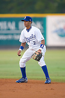 Second baseman Angel Franco (2) of the Burlington Royals on defense at Burlington Athletic Park in Burlington, NC, Wednesday, August 13, 2008. (Photo by Brian Westerholt / Four Seam Images)