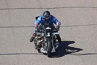 Feb 25, 2017; Chandler, AZ, USA; NHRA top fuel nitro Harley Davidson rider Jay Turner during qualifying for the Arizona Nationals at Wild Horse Pass Motorsports Park. Mandatory Credit: Mark J. Rebilas-USA TODAY Sports