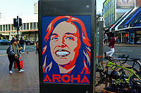 A billboard depicting NZ Prime Minister Jacinda Ardern on Manners Street in the Wellington city centre on Queens Birthday weekend. Wellington, New Zealand on Sunday, 31 May 2020.